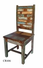 recycled wooden multi colour dinning chair