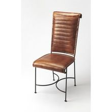 Butler Brown Leather And Iron Side Chair