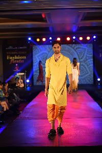 Yellow Kurta With Cowls Neck And Dhoti