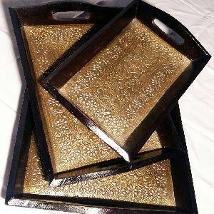 Wooden Brass Work Trays