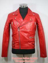 Biker Leather Jacket Red