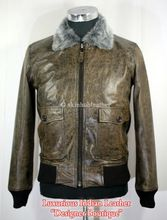 Mens Army Bomber Leather Jacket