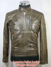 Patch Biker Brown Leather Jacket