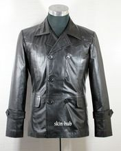 Sheep Nappa Leather Pea Coat