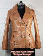 Womens Camel Sheep Leather  Coat