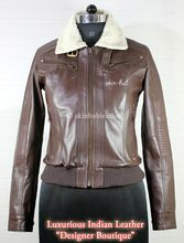 womens sherpa collar leather jacket