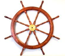 Nautical Bras And Wood Ship Wheel
