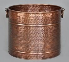 Round Hammered Antique Planter