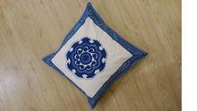 Cotton Blue Block Print Cushion Cover
