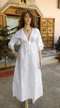 Hand Embroidered White Chikan Dresses Kaftans