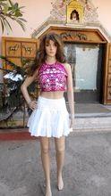 Hand Embroidered White Chikan Mini Skirt