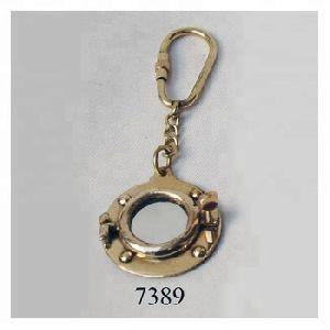 Brass Porthole Mirror Keychain