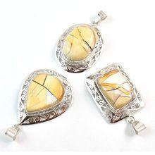 Gemstone Antique Silver Brecciated Mookaite Pendant