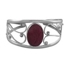 Red Ruby Sterling Silver Cuff Bracelet