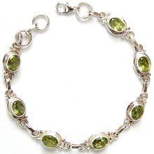Silver Peridot Gemstone Handmade Bracelet
