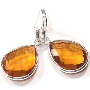 Tear Drop Stone Bezel Set Drop Glass Earrings