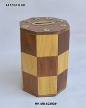 Hand Carved Wood Money Box