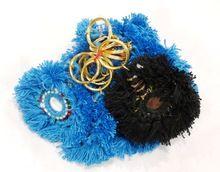 Handmade Crafted Boho Banjara Key Chain Blue Handbag