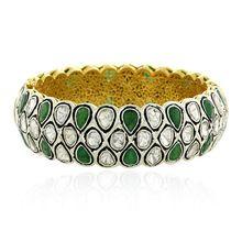 Uncut Diamond Rose Cut Bangle Women Jewelry