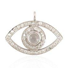White Gold Evil Eye Charm Handmade Jewelry