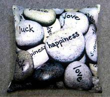 Pebble Wordart Printed Cushion Cover