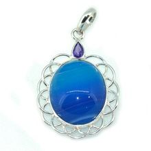 Blue Banded Agate Gemstone Fancy Pendant