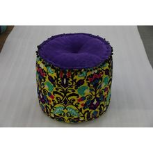 Cotton Floral Ottoman Pouf