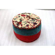 Cotton Floral Round Pouf