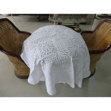 Handmade Applique Work Organdie Table Cloth