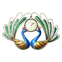 Two Peacock Hanging Wall Clock Decor