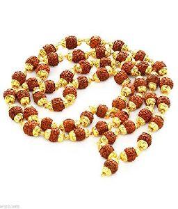 5 mukhi rudraksh mala with golden cap