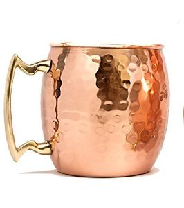 Pure Hammered Copper Mug with Brass Handle