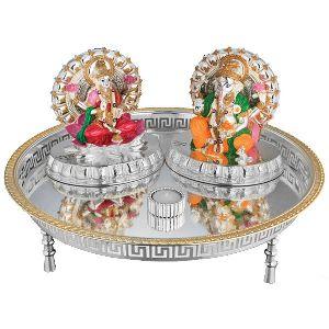 Ganesha And Laxmi Decorative Marble Statue