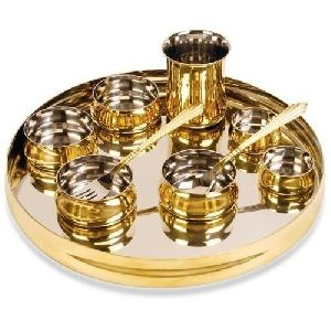 Golden And Silver Coated Circular Dinner Set