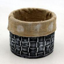 Wash Leather Round Decorative Basket