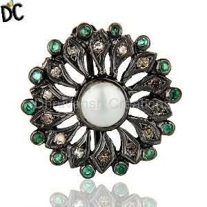 Emerald Gemstone Pave Diamond Brooch
