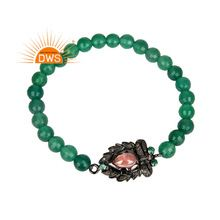 Green Onyx Beaded Gemstone Diamond Designer Stretchable Bracelet