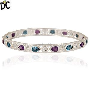 Womens Multi Gemstone Designer Bangles