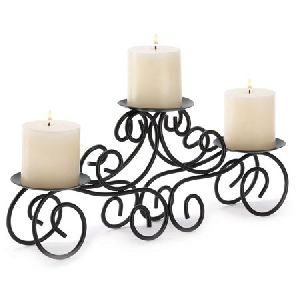 Tuscan Candle Holder Wrought Iron Wedding Centerpiece, Elegantly Crafted From Wrought Iron Scrolls B