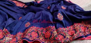 Beautiful Embroidered Muslin Cotton Silk Saree With Contrast Blouse