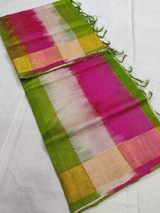 Mangalagiri Pattu Multi Colour Zari Lines Sarees
