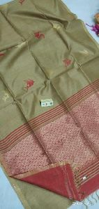 Pure Raw Silk Hand Weaving Butis With Jari Border And Contrast Blouse