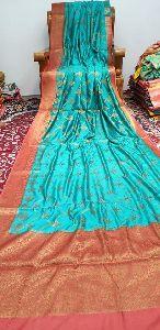 Pure Silk Katan Munga Zari Handloom Sarees