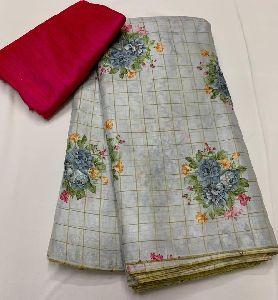 Soft Jute Silk Digital Print Saree With Raw Silk Blouse Pc