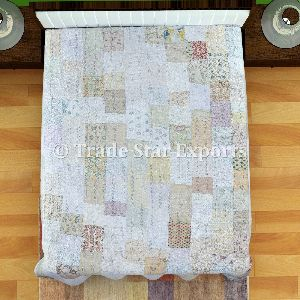 Cotton Silk Patola Sarees Patchwork Bed Cover Kantha Quilt