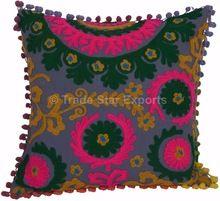 Indian Suzani Embroidered Cushion