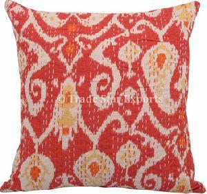 Kantha Ikat Fabric Cotton Cushion Cover