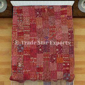 Silk Cotton Fabric Patola Sarees Patchwork Kantha Quilt