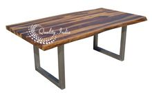 Antique Live Edge Wooden Blocked Legs Dining Table