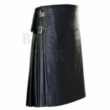 Black Leather Utility Kilt With Hanging Pockets
